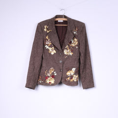 Blanco Womens 40 L Blazer Single Breasted Brown Herringbone Wool Autumn Embroidered Jacket