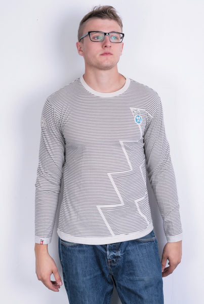 Quiksilver Mens S Shirt Crew Neck Striped Long Sleeve Surfing - RetrospectClothes