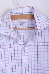 T.M.Lewin Mens 15.5 34.5 L Formal Shirt Check Regular Fit White Cufflinks