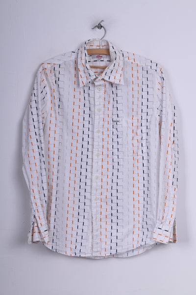 S.Oliver Mens M Casual Shirt Graphic White Long Sleeve Cotton
