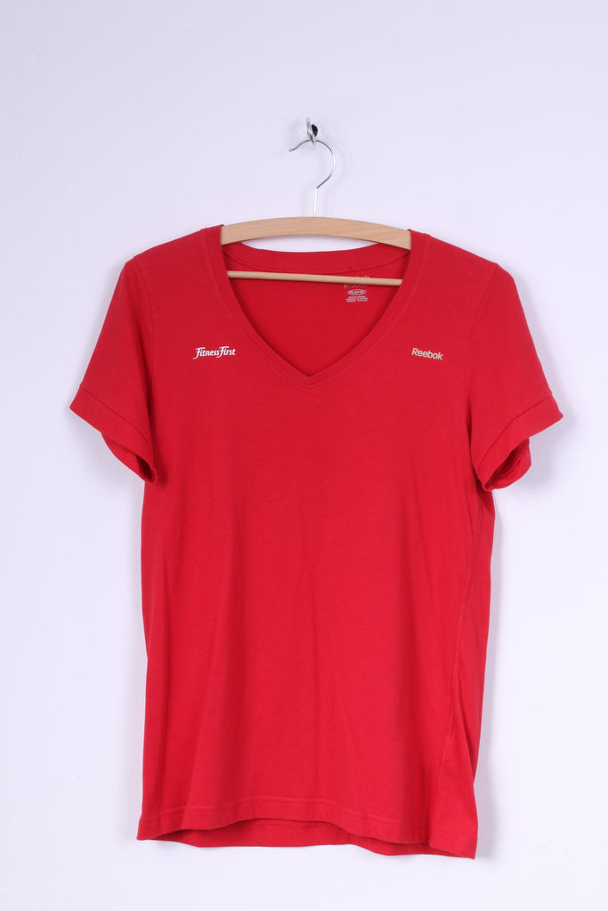 Reebok Womens M  Shirt Fitness First Red V Neck Short Sleeve Summer