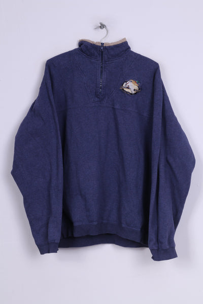 Cabela's Mens 2XL Sweatshirt Zip Neck Jumper Cotton Navy Outdoor Gear Vintage