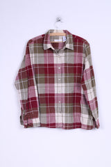 Ms Lee Womens XL Casual Shirt Checkered Cotton Long Sleeve