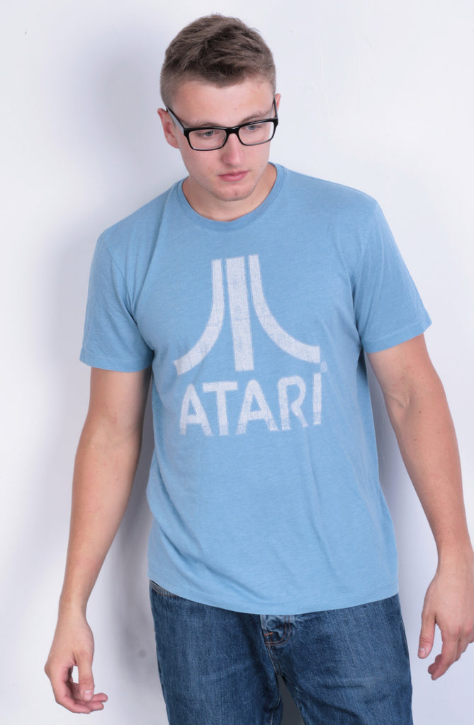 Atari Mens M T-Shirt Blue Cotton Summer Short Sleeve - RetrospectClothes