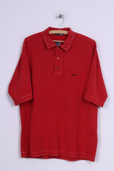 Nike Tiger Woods Mens M 39/41 Polo Shirt Red Short Sleeve Sportswear
