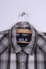 Ucla Womens M Casual Shirt Check Cotton Grey Long Sleeve
