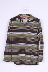 Gas Mens S Polo Shirt Brown Striped Long Sleeve Cotton