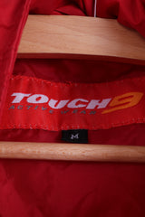 Touch 9  Mens M Rain Jacket Red Active Wear Nylon Hidden Hood Rain Coat