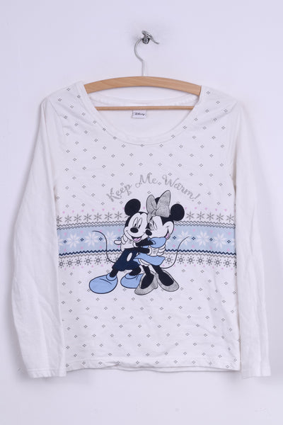 Tu Disney Womens 10 M Shirt Long Sleeve White Sleepwear Keep Me Warm Mickey Mouse