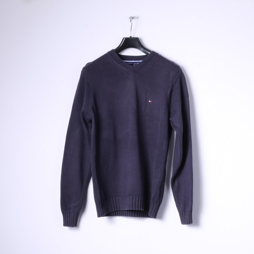 Tommy Hilfiger Mens S Jumper Navy 100% Cotton V Neck Knitwear Top