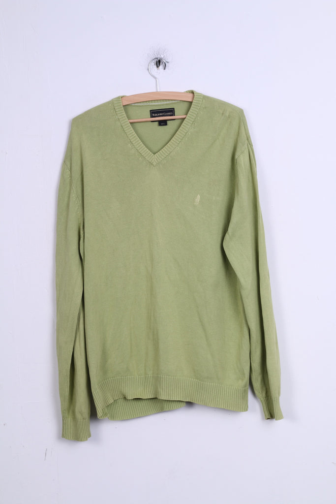 Marlboro Classics Mens L Jumper Green Cotton V Neck Sweater