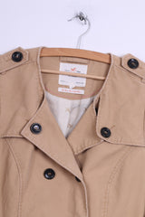 Holly White by Lindex Womens 42 M Trench Coat Beige Cotton Belted Classic Mac