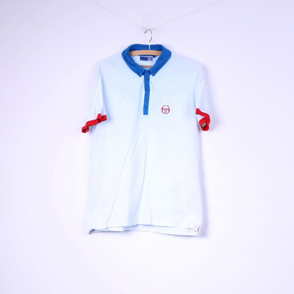Sergio Tacchini Mens L Polo Shirt Light Blue Short Sleeve Top Button Down Collar