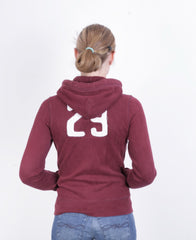 Superdry Womens XS Sweatshirt Maroon Full Zipper Hoodie Hood - RetrospectClothes