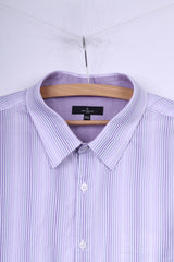 Jeff Banks London Mens 3XL Casual Shirt White Striped Cotton Short Sleeve Top