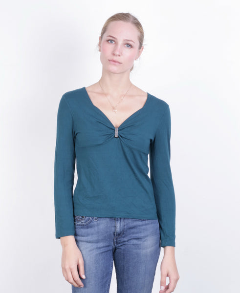 Daneva DNV Womens M Shirt V Neck Green Long Sleeve - RetrospectClothes