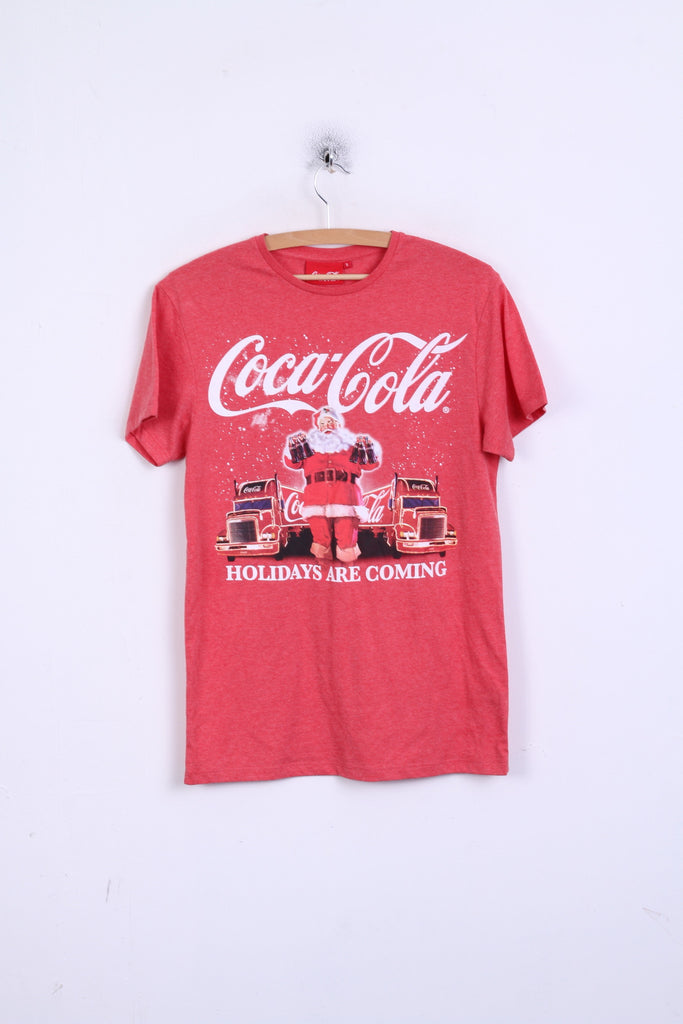 Coca Cola Unisex S T-Shirt Red Santa Crew Neck Cotton