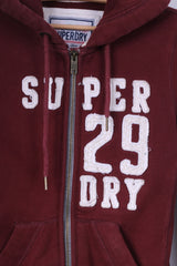 Superdry Womens XS Sweatshirt Maroon Full Zipper Hoodie Hood