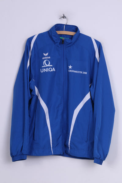 Erima Europameister 2008 Mens 40/42 M Jacket Full Zipper Lightweight Uniqa Blue Sportswear