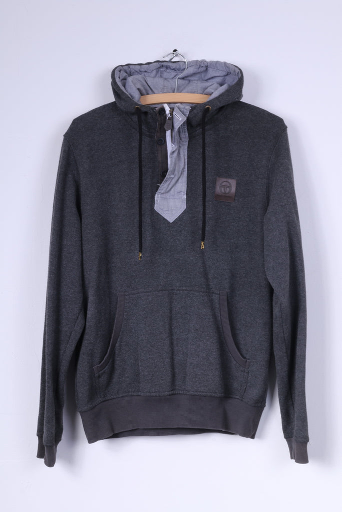 Sergio Tacchini Mens S Sweatshirt Grey Hoodie Cotton Pads