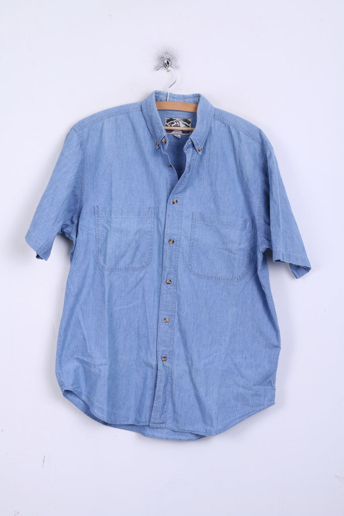 New Orleans Mens M Casual Shirt Vintage Denim Basic Cotton Short Sleeve