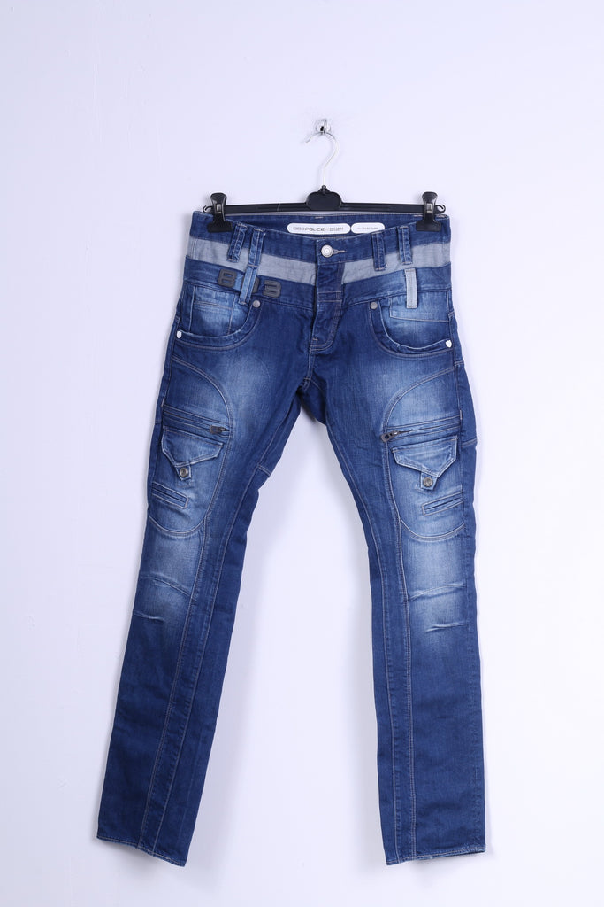 882 POLICE Mens W30 L34 Jeans Trousers Picolino Blue Denim Straight Leg