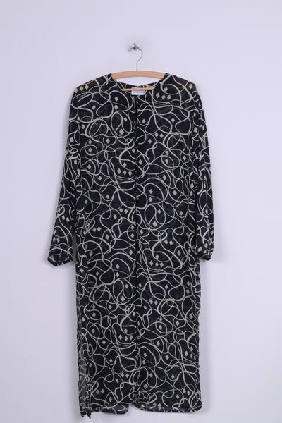 Sat Suma London Womens 16 XL Medium Dress Printed Navy Transparent Long Sleeve