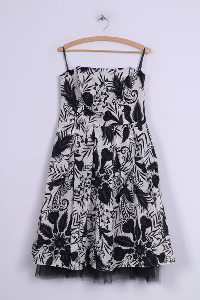 Florence + Fred Womens 14 M Bandeau Skater Dress Printed White Black Cotton Midi