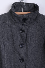 Fresh Made Womens L Jacket Single Breasted Herringbone Grey