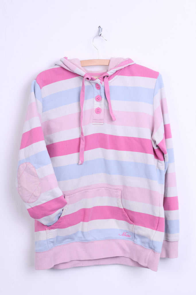 Musto Signature Womens L 42 Jumper Sweatshirt Hood Striped Cotton Pink - RetrospectClothes