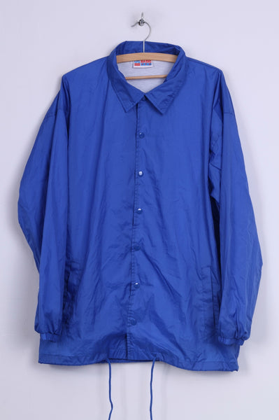 Us Basic Mens XL Lightweight Jacket Nylon Waterproof Blue Snaps Buttons
