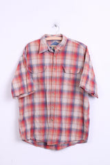 Manchester City Jeans Mens L Casual Shirt Multi Check Short Sleeve - RetrospectClothes
