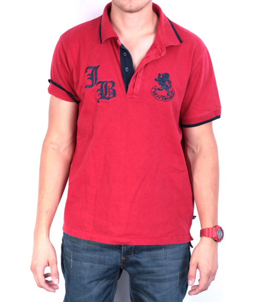 Jeff Banks Mens L Polo Shirt Red Cotton Short Sleeve Summer - RetrospectClothes