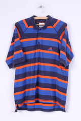Adidas Mens L Polo Shirt Navy Blue Striped Cotton Short Sleeve Summer Vintage