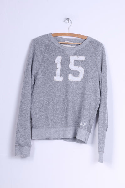 Abercrombie & Fitch Mens S Sweatshirt Grey Cotton Crew Neck Embroidered #15