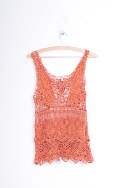 Zara Trafaluc Womens S Vest Lace Festival Orange Cotton - RetrospectClothes