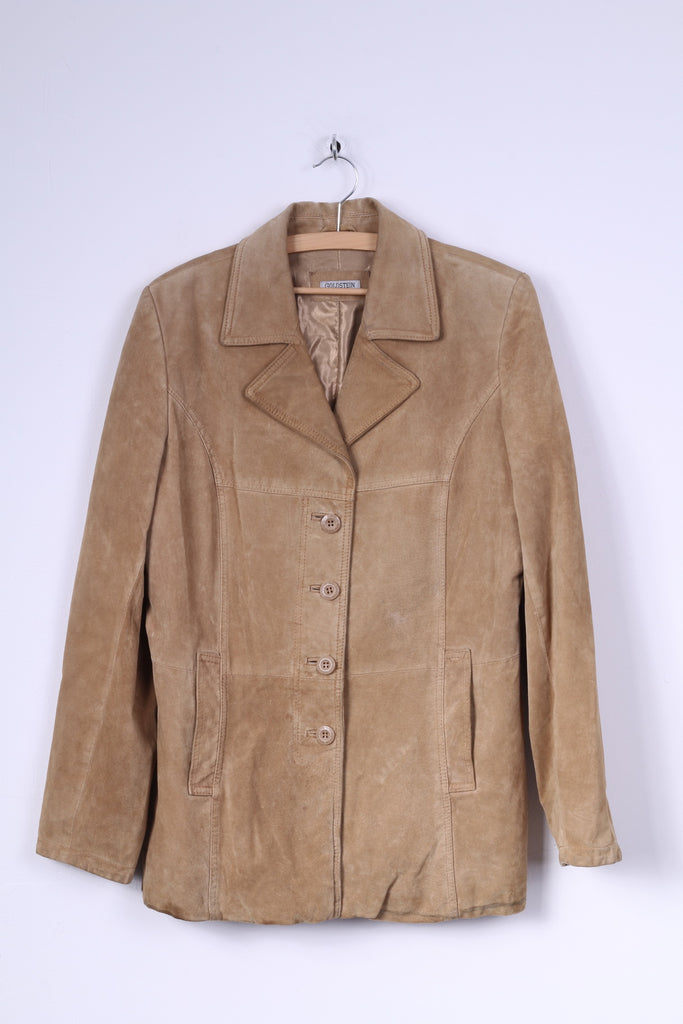 Goldsein Womens 42 XL Jacket Camel Single Brasted Leather