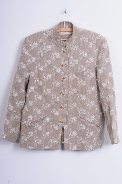 The Barn Womens 40 M/L Blazer Beige Embroidered Flores Linen - RetrospectClothes