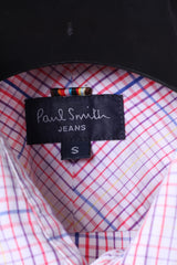 Paul Smith Jeans Mens S Casual Shirt Pink Check Cotton Short Sleeve Top
