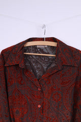 Queensway Womens 50 2XL Casual Shirt Single Breasted Baroque Print Brick