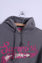 Superdry Womens M Sweatshirt Grey Cotton Hooded Kangaroo Pocket Hoodie