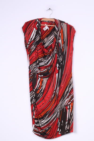 Kenneth Cole Womens M Dress Red Brown printed Fitted Stretch