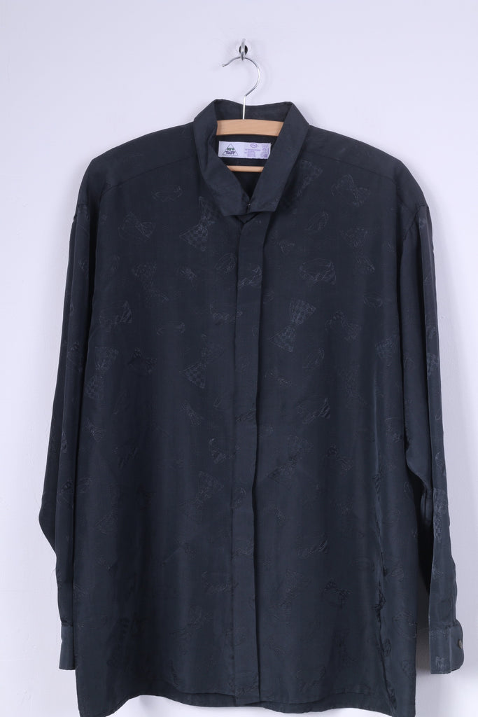 C&A Mens 42 XL Casual Shirt New Fast Black Bow Print Vintage