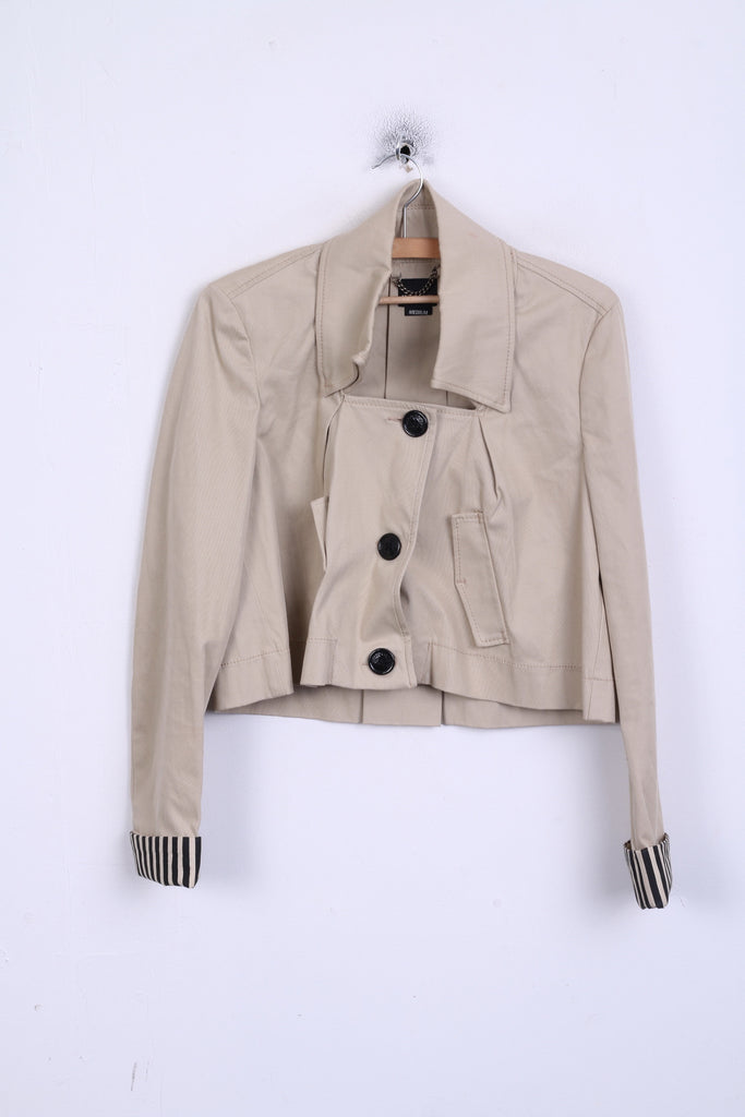 MISS SIXTY Womens M Crop Blazer Elegance Cotton Jacket Bolero Beige