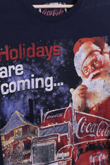 The Coca-Cola Womens Xs T-Shirt Navy Cotton Holidays are Coming - RetrospectClothes