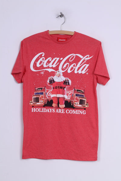 Cedar Wood State Coca -Cola Mens XS T-Shirt Graphic Holidays Are Coming Red Cotton