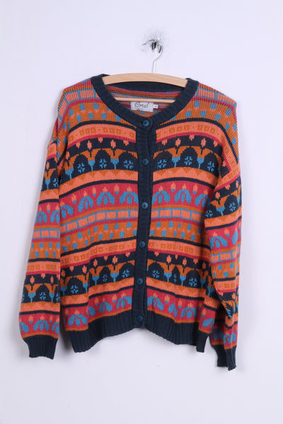 Coral Wear Womens L Sweater Cotton Buttons Multi Color Jumper