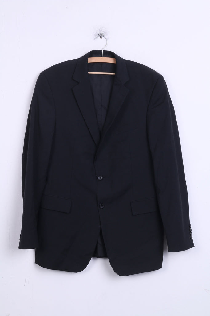Strellson Premium Line Mens 98 M Blazer Black Wool Top Single Breasted - RetrospectClothes