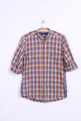 Peak Performance Mens M Casual Shirt Check Brown Outdoor - RetrospectClothes