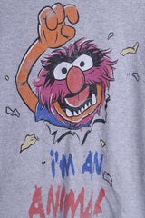 The Muppets Mens S T-Shirt Top Crew Neck Grey Im An Animal Cotton